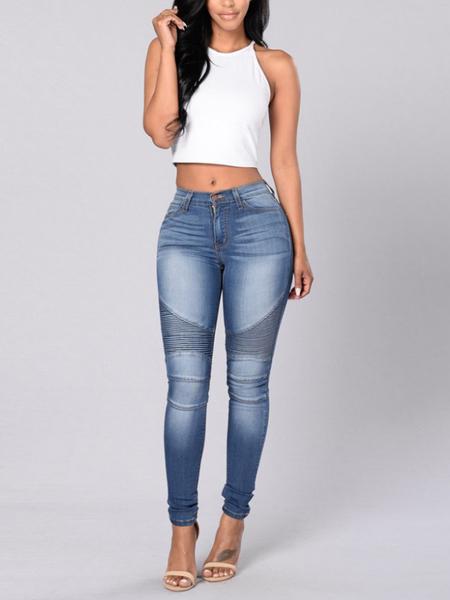 Yoins Blue Button Design Denim Jeans