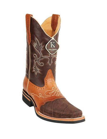 Men's King Exotic Square Toe Brown Genuine Elephant Boots Handcrafted