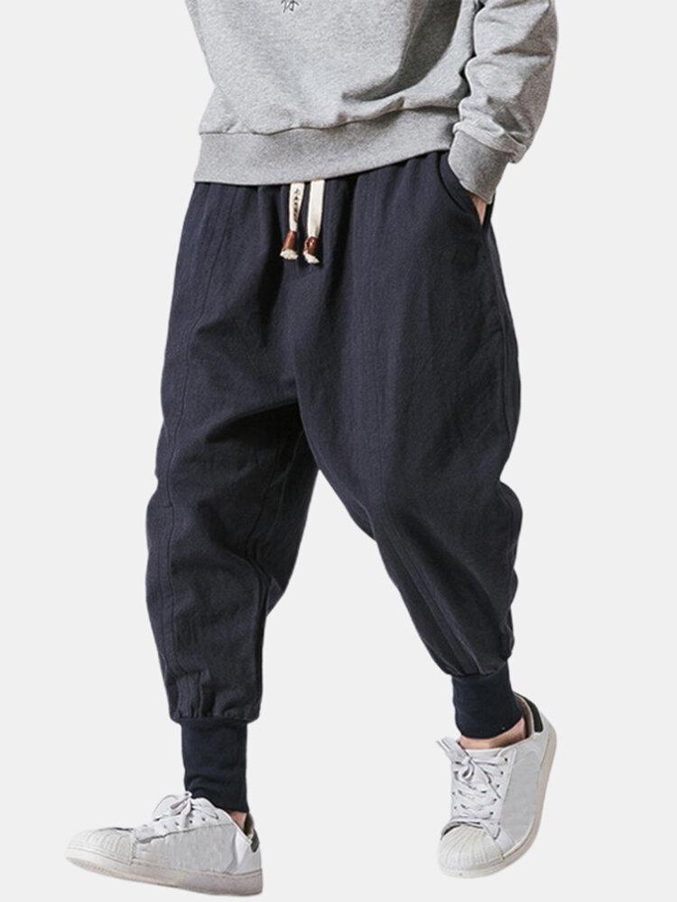 Mens Chinese Style Loose Casual Fashion Plain Drawstring Harem Pants