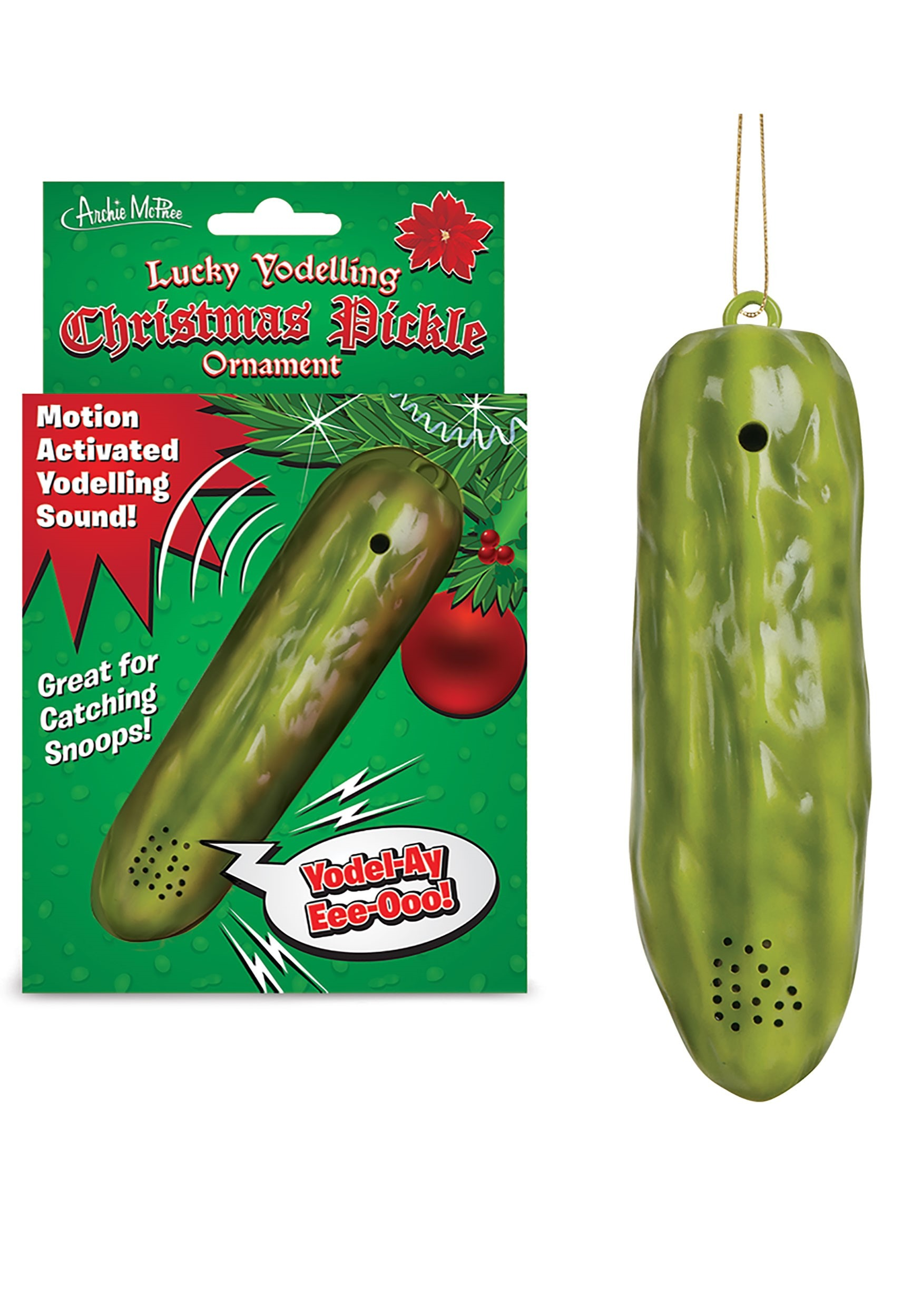 Lucky Yodelling Christmas Pickle Ornament