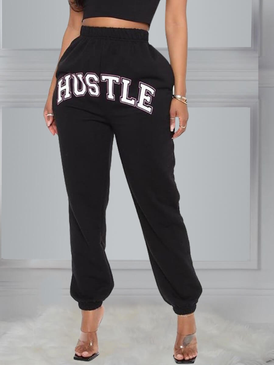 LW Lovely Casual Letter Print Black Pants
