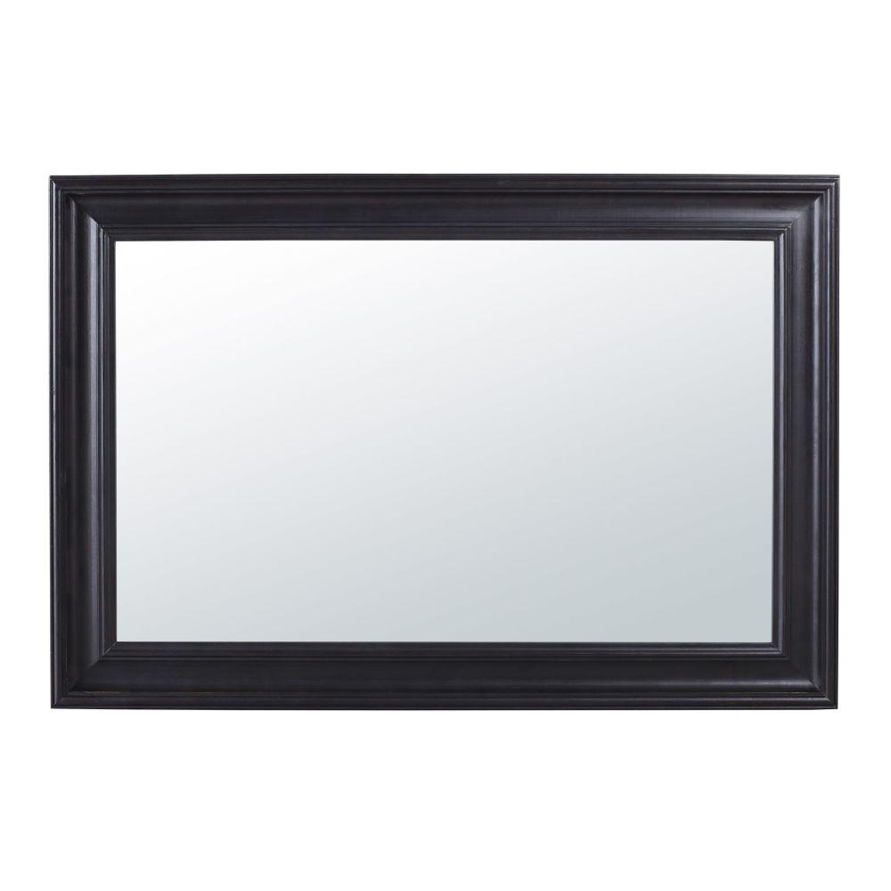 Spiegel aus schwarzem Paulownienholz mit Zierleisten 95x140