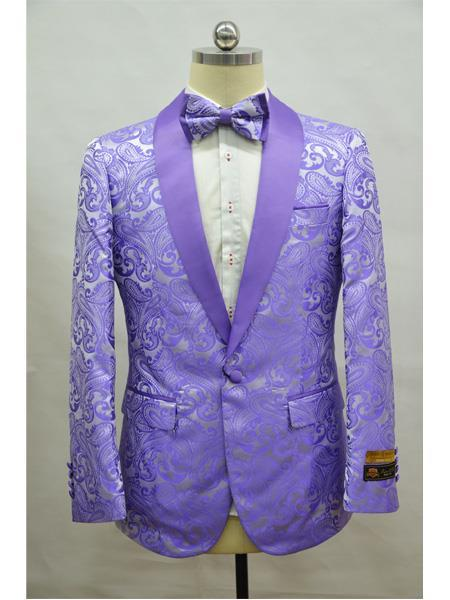 Cheap Mens Printed Flower Jacket Prom modern Tux Lavender