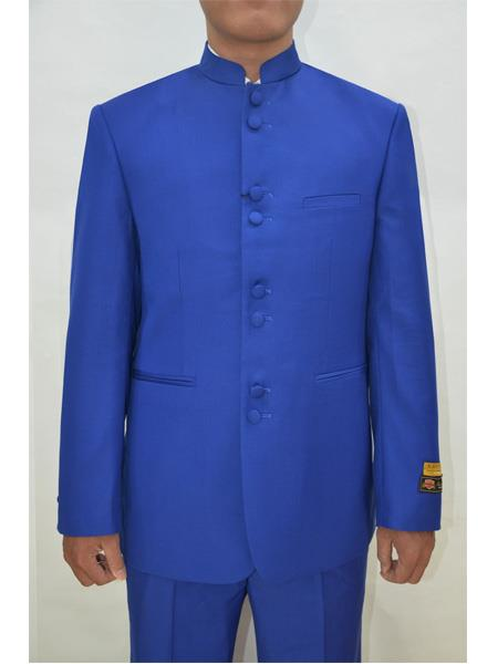 Mens Eight Button Mandarin Banded Collar Royal Blue Suits