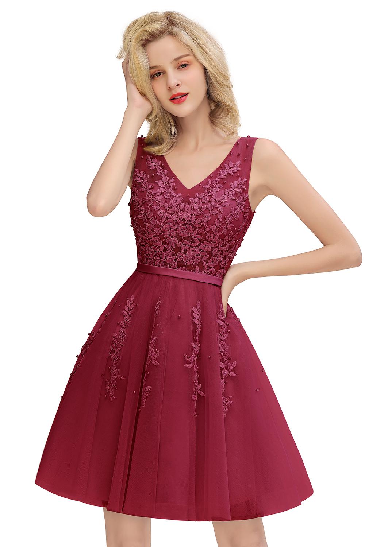 BMbridal Elegant V-Neck Sleeveless Short Prom Dress Mini Homecoming Dress With Lace Appliques