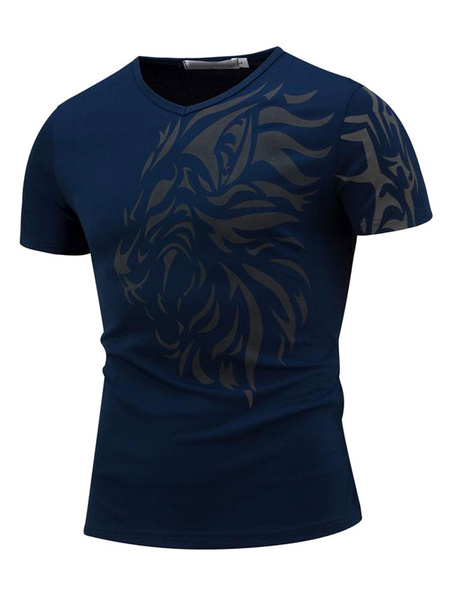 Milanoo Dark Navy T Shirts Men's Short Sleeve Printed Summer Tee Shirt Tops