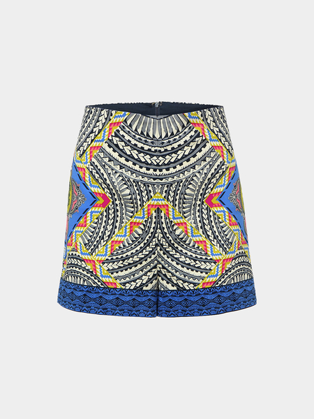 Yoins Retro Folk Style Shorts With Floral Print In Blue