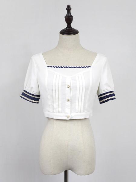 Milanoo Classic Lolita Blouse Neverland Morning Star Idol Academy White Short Puff Sleeve Lolita Top