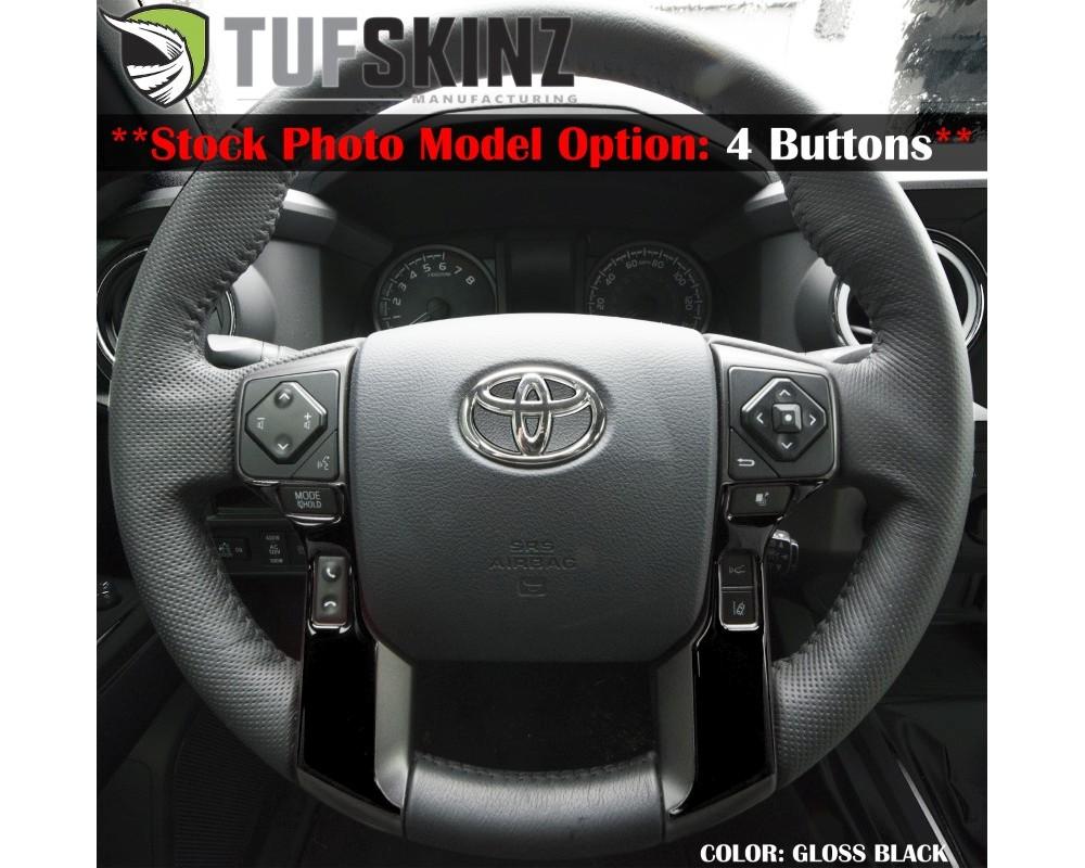 Tufskinz TAC039-RUN-BLK-G Steering Wheel Trim With 4 Buttons Fits 2014-2020 Toyota 4Runner 2 Piece Kit In Gloss Black