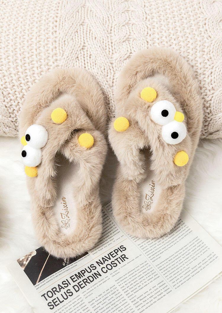 Funny Fur Slip On Flat Slippers - Light Khaki
