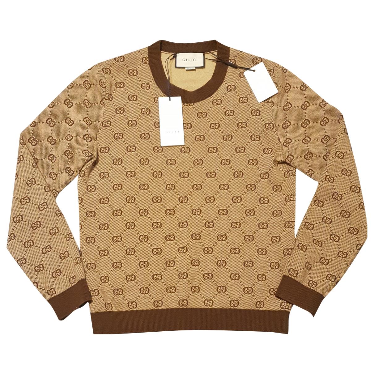 Gucci \N Pullover.Westen.Sweatshirts  in  Kamel Wolle
