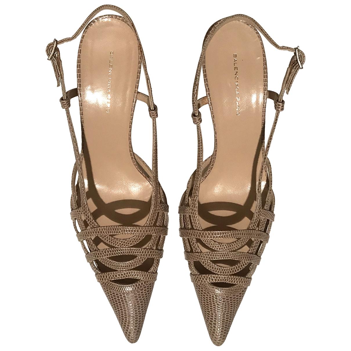 Balenciaga N Beige Leather Heels for Women 38 EU