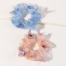 2pcs Girls Butterfly Decor Scrunchie