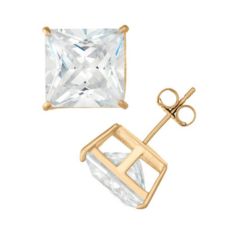 DiamonArt 2 1/4 CT. T.W. White Cubic Zirconia 10K Gold Over Silver Square Stud Earrings, One Size , No Color Family