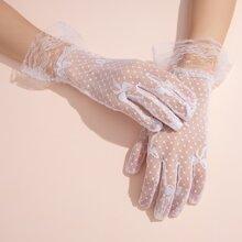 Handschuhe mit Spitzen und Schleife vorn