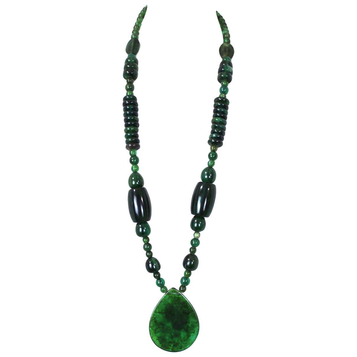 - Sautoir Agate pour femme en perles - vert