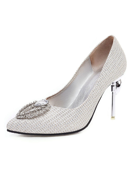 Milanoo Crystal Prom Heels Luxury Embellished Silver Pumps Pointed Toe Stiletto Heel Wedding Shoes