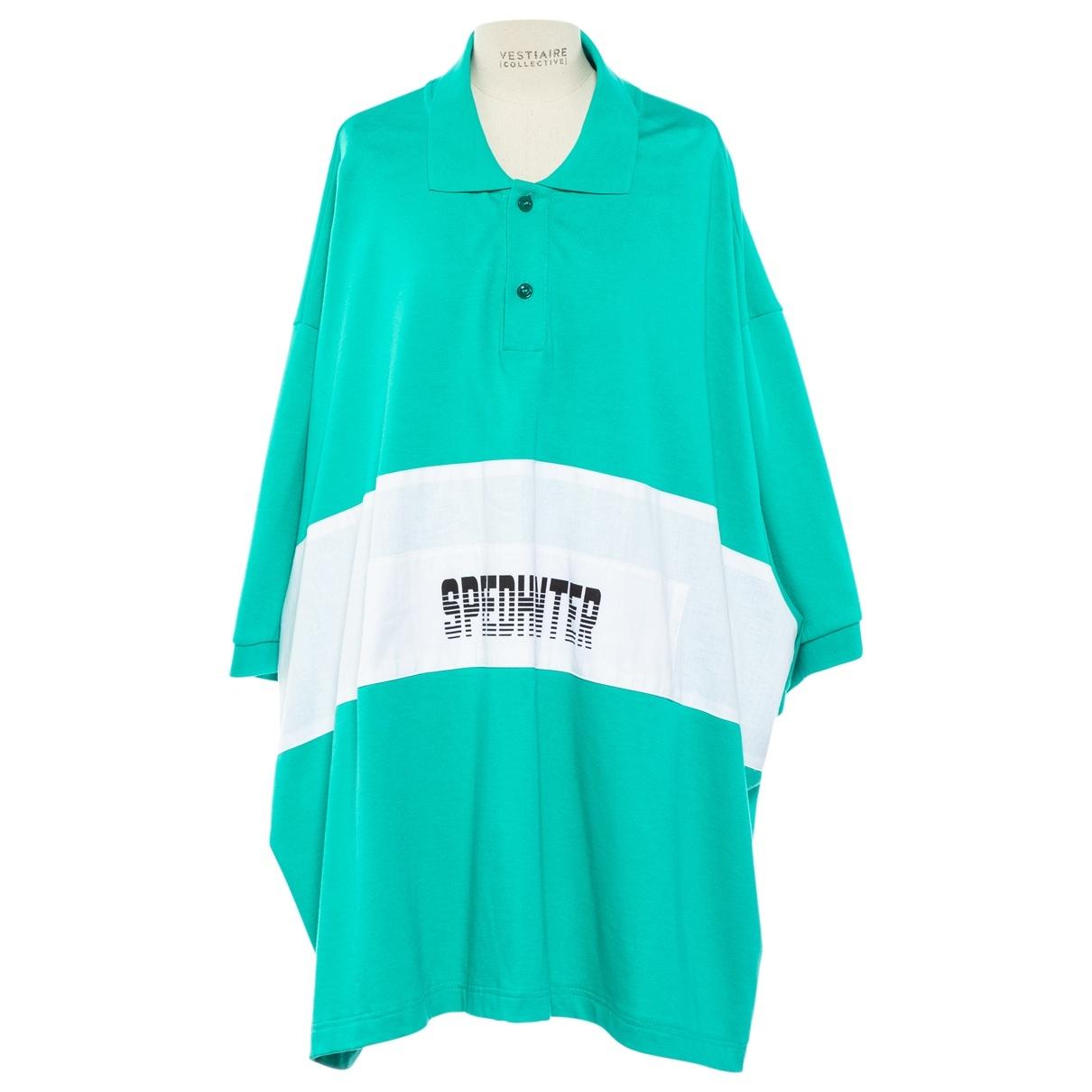 Balenciaga - Polos   pour homme en coton - turquoise