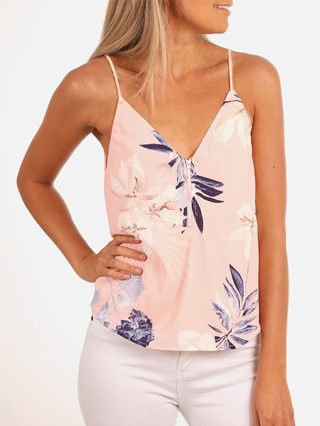 Yoins Pink Zip Design Random Floral Print V-neck Spaghetti Straps Camis