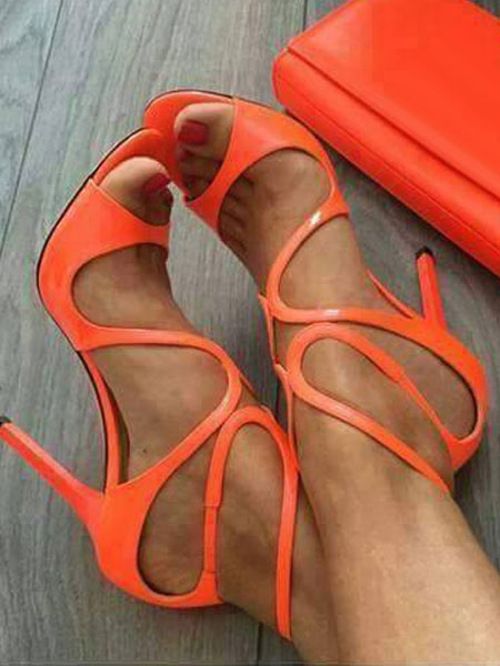 Milanoo High Heel Sandals Gold Open Toe Cut Out Sandals Womens Stiletto Heels Sandals