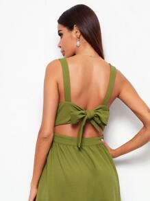 Tied Backless Slip Dress