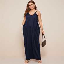 Plus Solid Hidden Pocket Maxi Cami Dress