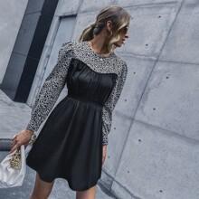 A-Linie Kleid mit Leopard Muster und Puffaermeln
