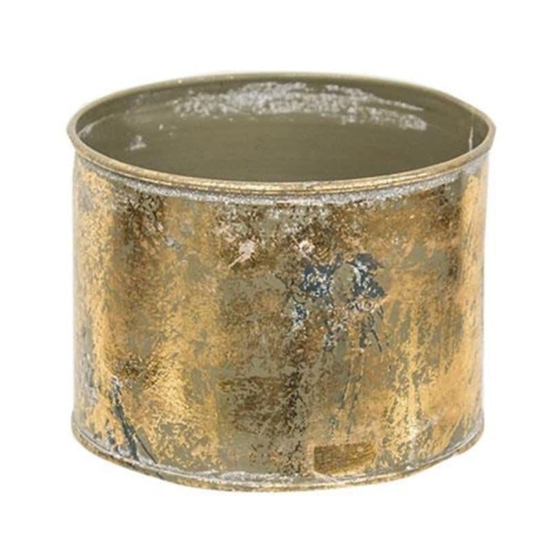 Distressed Gold Round Bucket (Gold)
