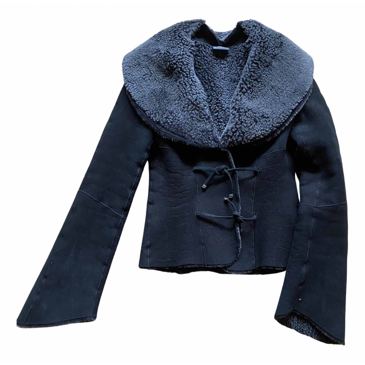 Non Signé / Unsigned N Black Shearling jacket for Women XS International