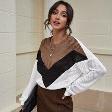 Drop Shoulder Colorblock Waffle Knit Sweatshirt