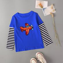 Toddler Boys Striped Cartoon Graphic 2 In 1 Tee