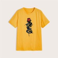 Guys Snake & Rose Graphic Tee