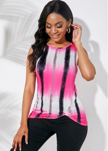 Sleeveless Tie Dye Print Round Neck T Shirt - XL