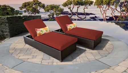 Belle Collection BELLE-2x-TERRACOTTA Set of 2 Chaises - Wheat and Terracotta