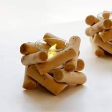 1 Stueck Kerzenhalter mit Holz Design