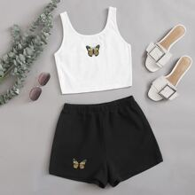 Butterfly Graphic Cropped Tank Top & Shorts Set