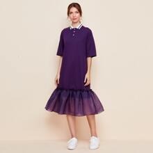 Polo Kleid mit Kontrast Kragen und Organza Schosschen am Saum