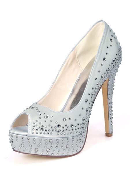 Milanoo Satin Wedding Shoes Deep Blue Rhinestones Peep Toe Peep Toe Stiletto Heel Bridal Shoes