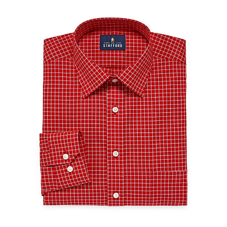 Stafford Mens Travel Easy-Care Broadcloth Stretch Regular Fit Dress Shirt, 15.5 36-37, Red