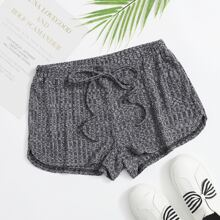 Tie Front Marled Dolphin Shorts