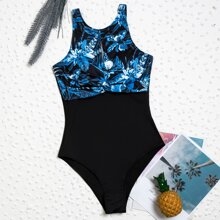 Einteiliger Badeanzug mit tropischem Muster und Twist vorn