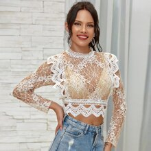 Double Crazy Zip Back Lace Crop Top Without Bra