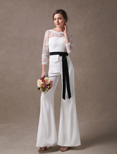 Milanoo Wedding Jumpsuits Ivory Long Sleeve Lace Applique Ribbon Sash Illusion Cutoff Wide Leg Bridal Jumpsuit