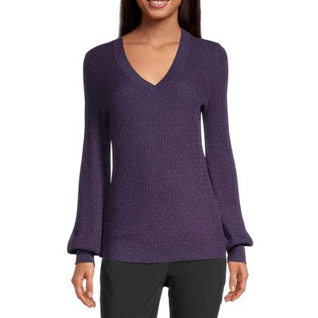 Liz Claiborne Womens V Neck Long Sleeve Pullover Sweater, Large , Purple