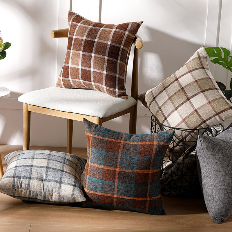 1Pc Plaid Sofa Pillowcase Solid Color Linen Cushion Pillowcase Car Office Lumbar Pillowcase