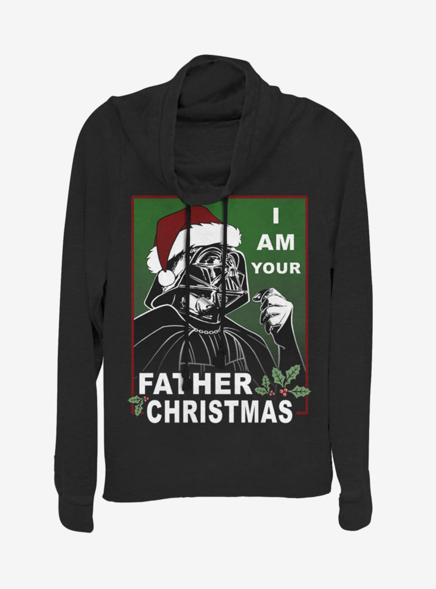 Star Wars Vader Father Christmas Cowlneck Long-Sleeve Womens Top