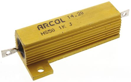 Arcol HS50 Series Aluminium Housed Axial Wire Wound Panel Mount Resistor, 1kΩ ±5% 50W (20)