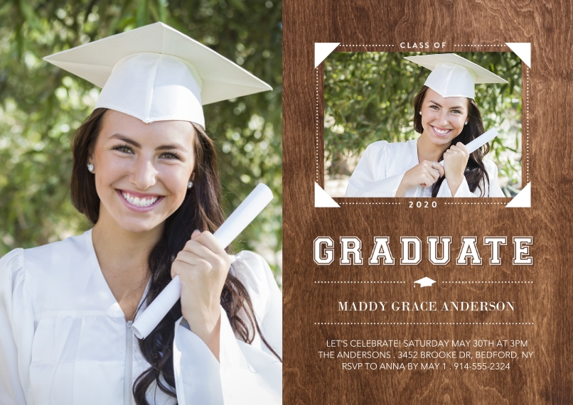 Graduation Announcements 5x7 Cards, Premium Cardstock 120lb with Scalloped Corners, Card & Stationery -Class of 2020 Memories by Tumbalina
