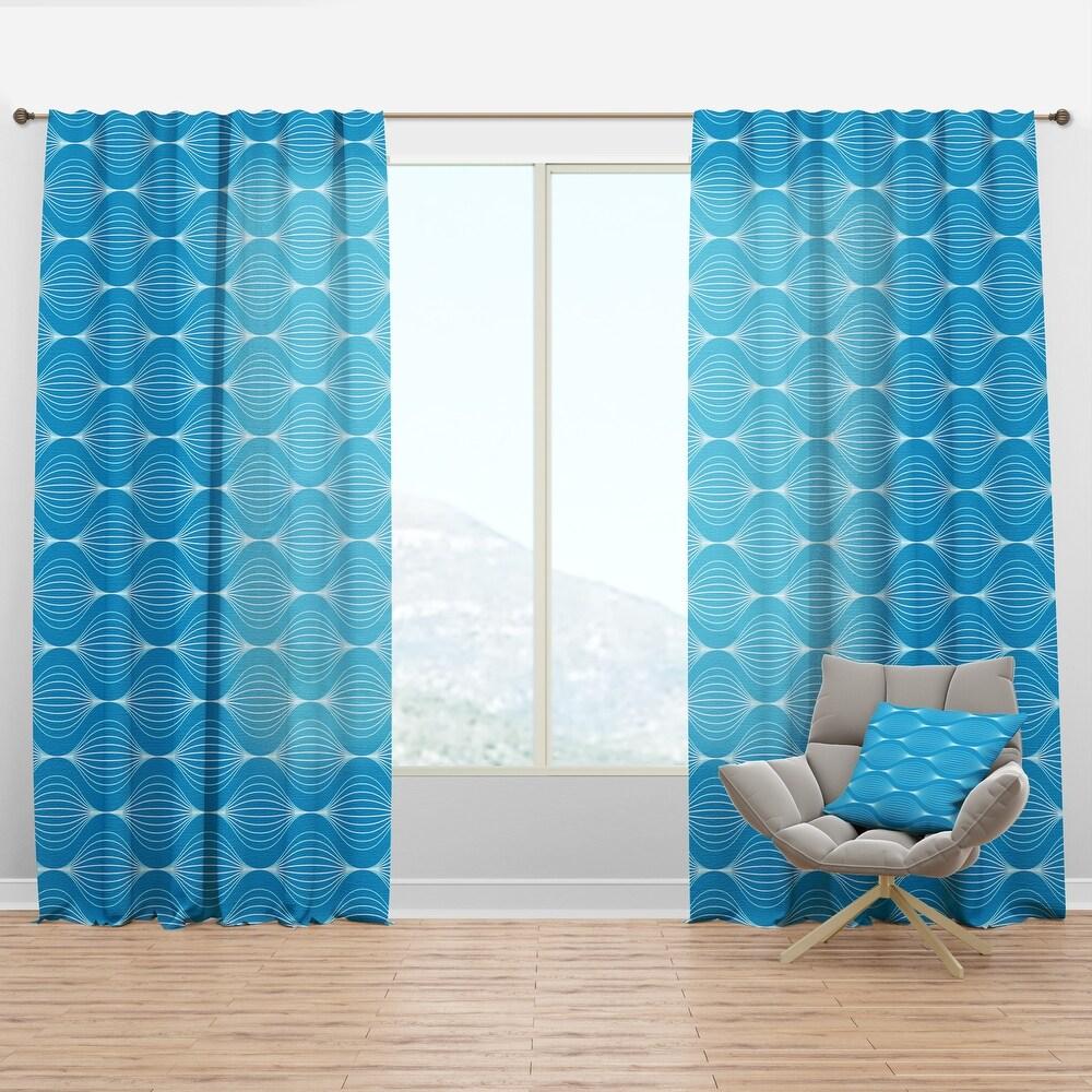 Designart 'Light Blue Wave pattern' Mid-Century Modern Curtain Panel (50 in. wide x 63 in. high - 1 Panel)