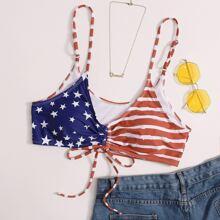 Bikini Top mit amerikanischer Flagge Muster